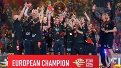 The 2016 European Men's Handball Champions celebrate in Berlin